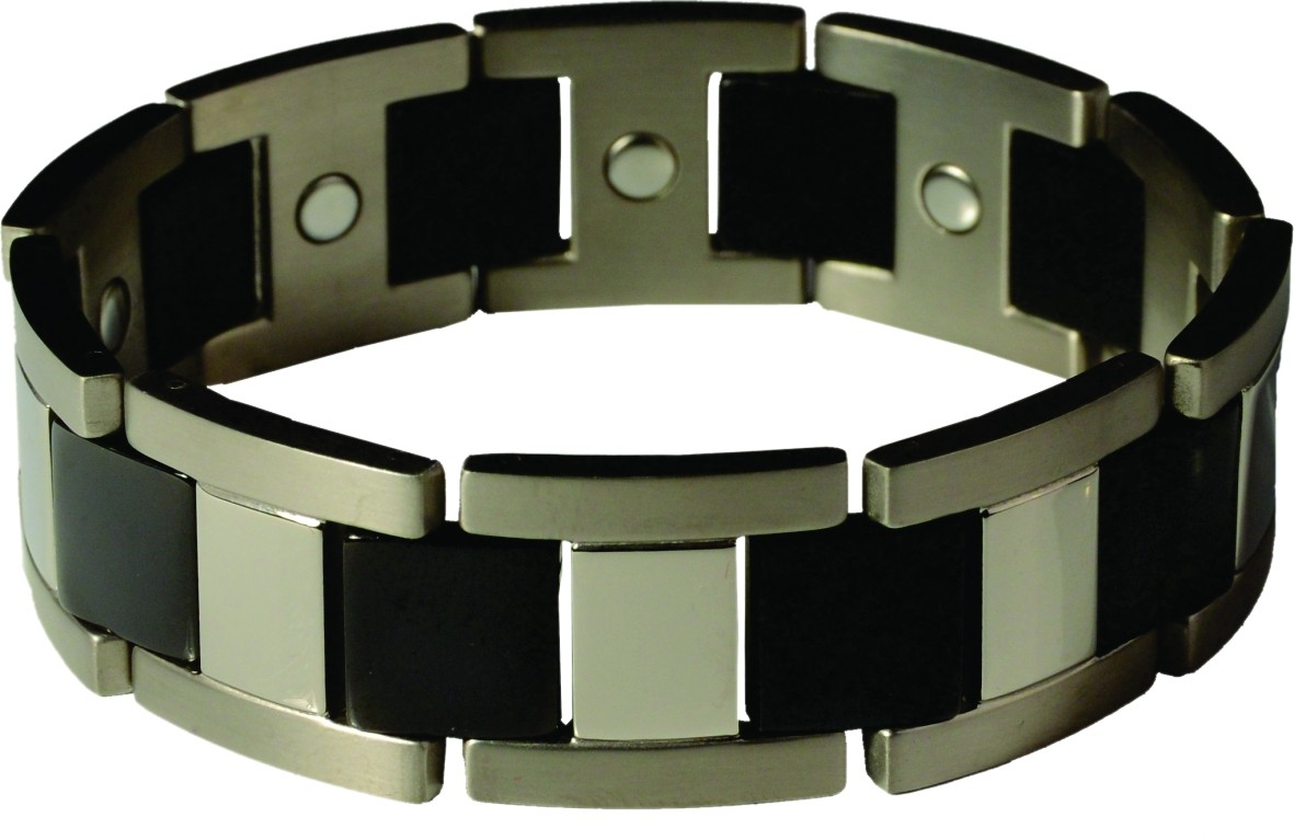 Dick Wicks Premium Magnetic Health Bracelet Slam Dunk Mens Titanium Wide-Fit