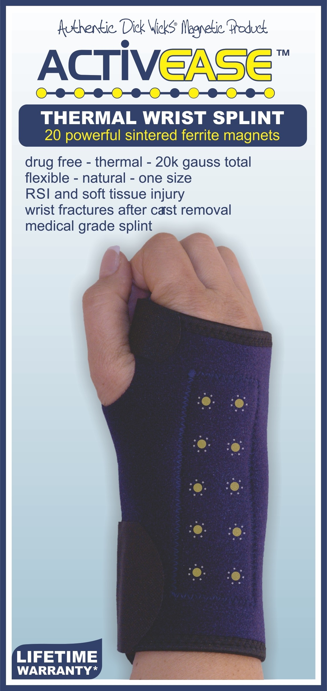 Activease Thermal Carpal Tunnel Wrist Splint with Magnets by Dick Wicks