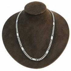Dick Wicks Magnetic Silver Chain Necklace with Block Links 50cm - SILVER