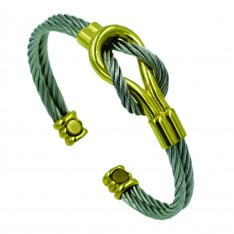Dick Wicks Magnetic Twisted Cable Health Bangle in Gold/Silver Knot