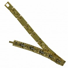 Dick Wicks Magnetic Health Bracelet with Fine Link Gold/Silver Ripple
