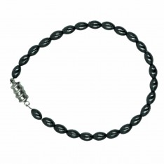 Dick Wicks Magnetic Health Bracelet Hematite Rice Grain Black Pearl
